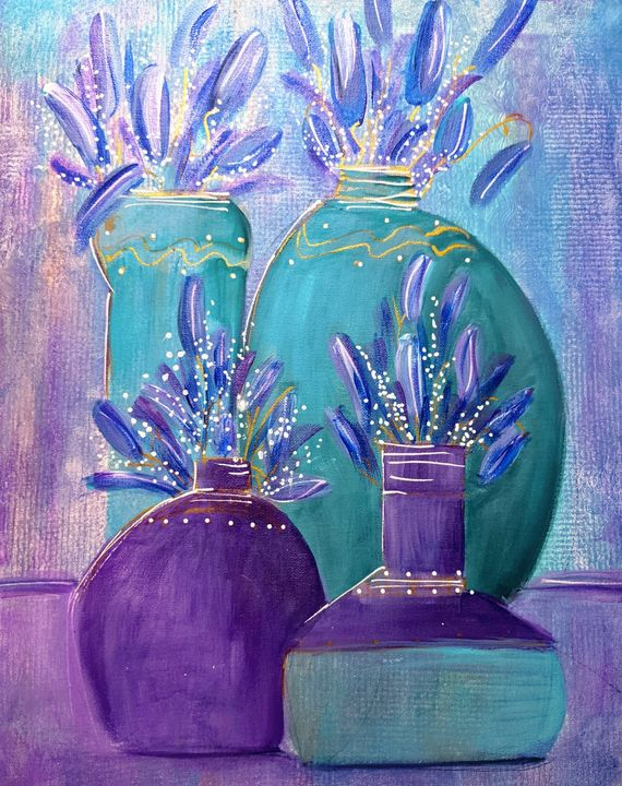 Contemporary Vases with flowers - Wild Woman Studio