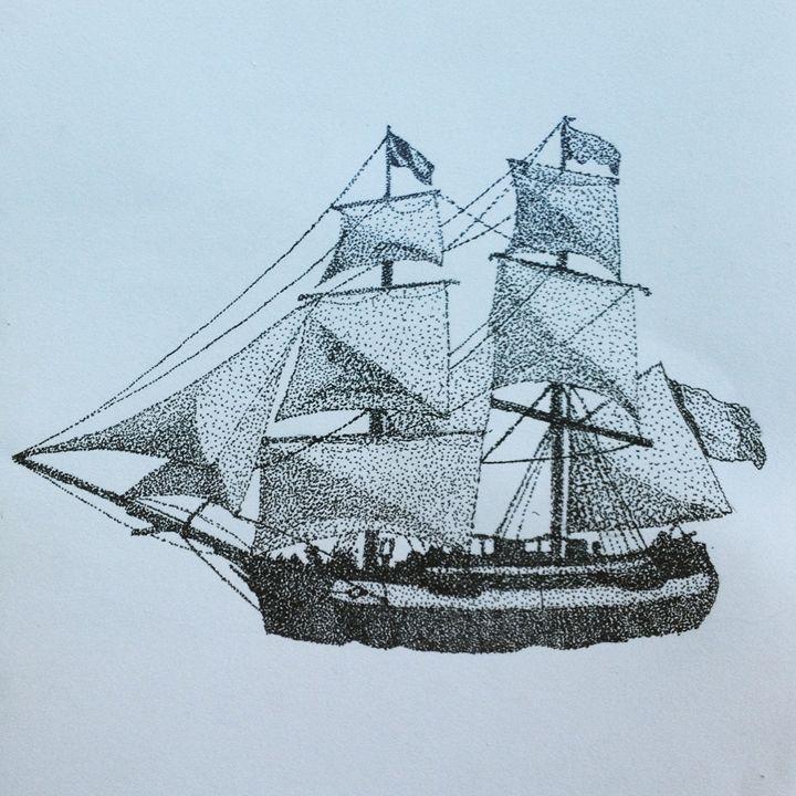 Stippling Ship - Angus Hills Art