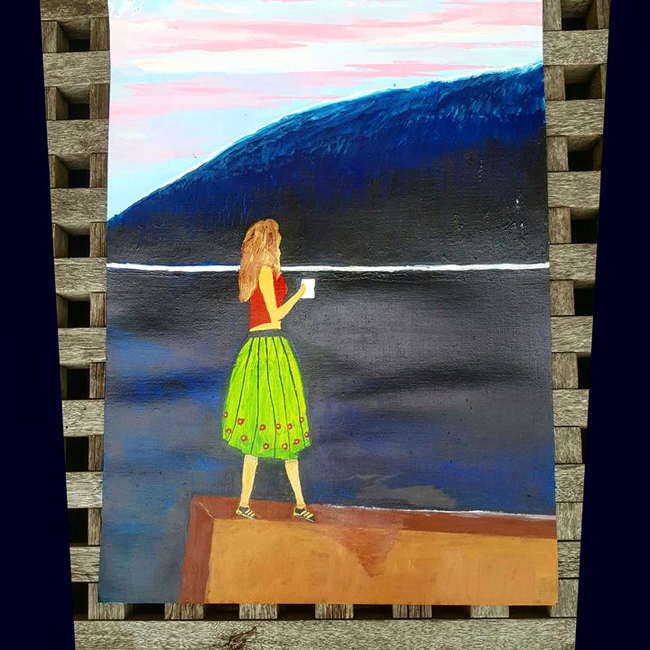 Lady having a cup of drink by d sea - My own paintings