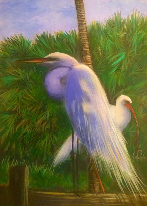 white egreat and ibis - l&l art