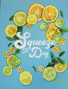 Lemon art print squeeze the day