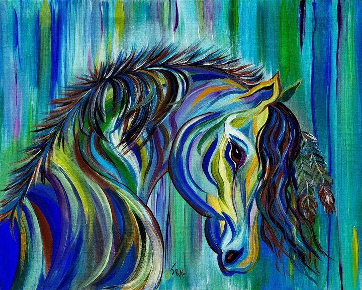 Paint Native American Horse - Crazy Woman Art