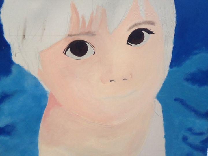 unfinished girl face portrait - Warali