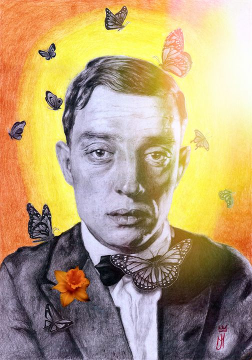 Buster Keaton with butterflies - Art_By_Yedvay