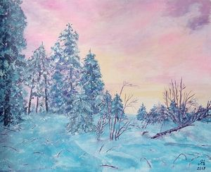 Pink sunrise in the winter forest