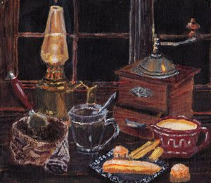 Still life mini with an old lamp 2