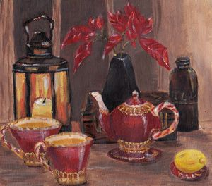 Still life mini with an old lamp 3