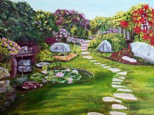 Landscape: garden with a pond