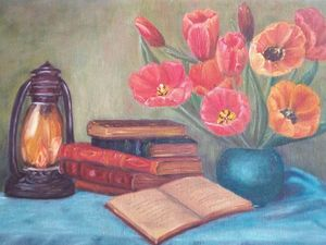 Still life with tulips.