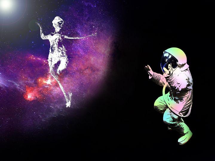 astronaut on black background - Dave White Digital Art