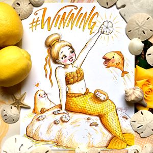 # WINNING with yellow staging - Art by Alicia Renee