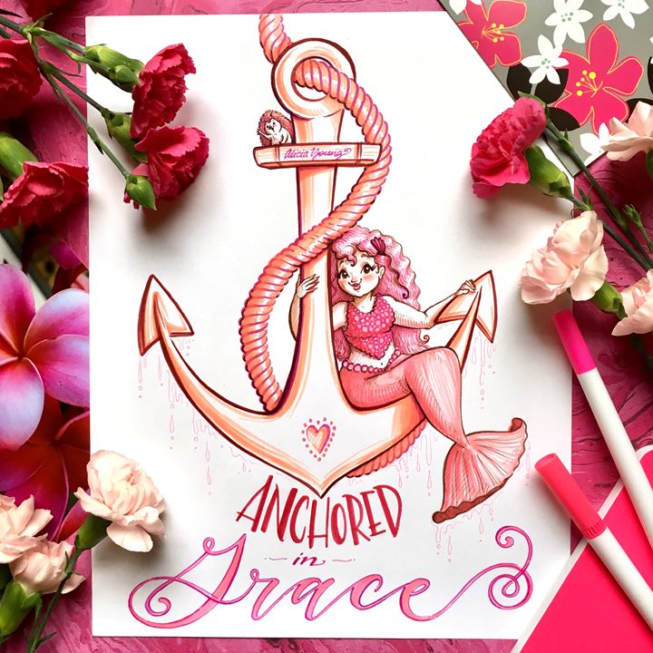 Anchored in Grace, with pink staging - Art by Alicia Renee