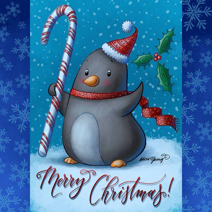 Merry Christmas Penguin - Alicia Young Art