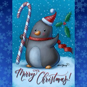 Merry Christmas Penguin - Art by Alicia Renee