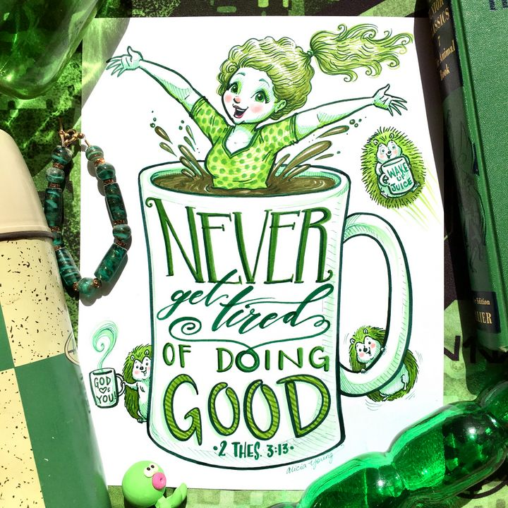 Never Get Tired_Green Staging - Art by Alicia Renee