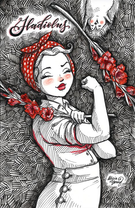 Rosie with Gladiolus - Alicia Young Art