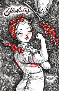 Rosie with Gladiolus