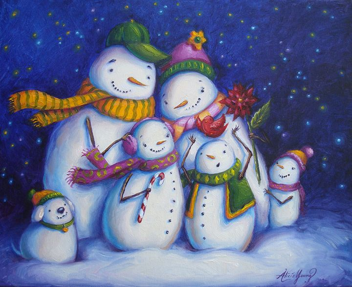 Snow Family Portrait - Alicia Young Art