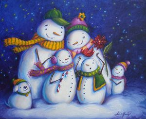 Snow Family Portrait - Art by Alicia Renee