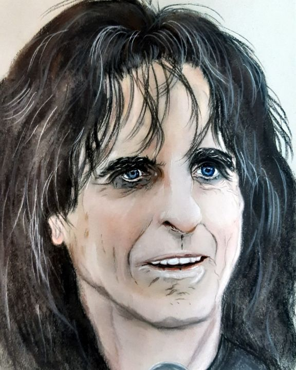 The Man Behind The Mask Alice Cooper Julie Bramley Art Drawings Illustration Entertainment Music Metal Artpal