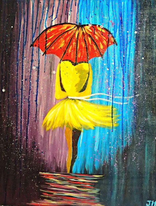 Woman in Yellow in the Rain - BrilliantColorsbyJen