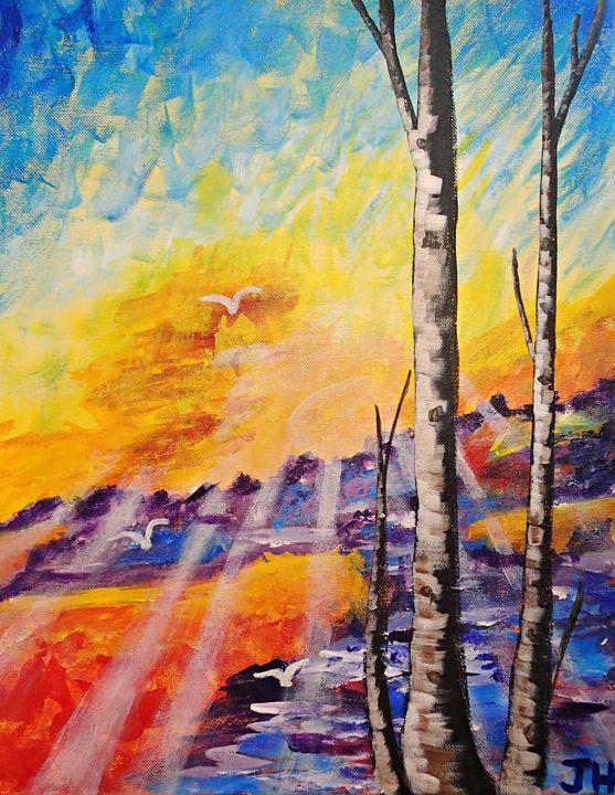Birch Tree Sunset - BrilliantColorsbyJen