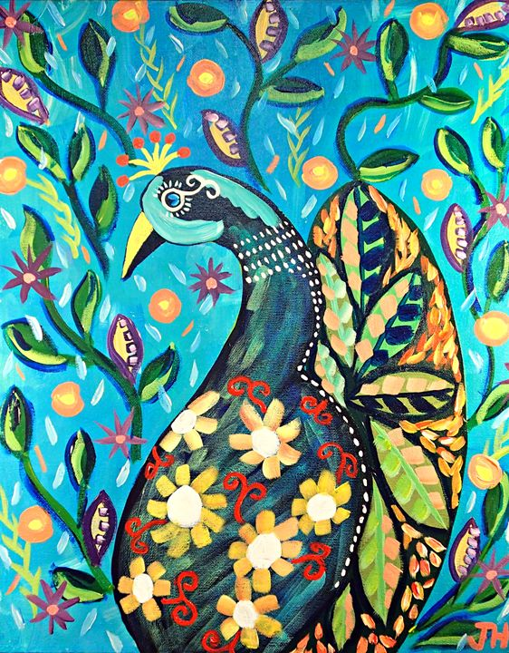 Floral Peacock - BrilliantColorsbyJen