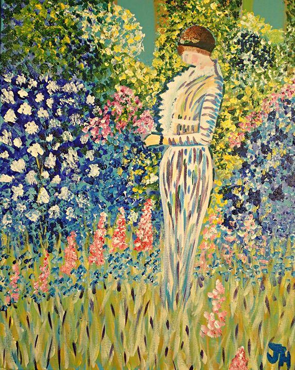 Lady in the Garden - BrilliantColorsbyJen