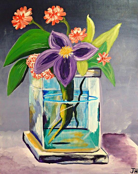 Purple Flower in Glass Vase - BrilliantColorsbyJen
