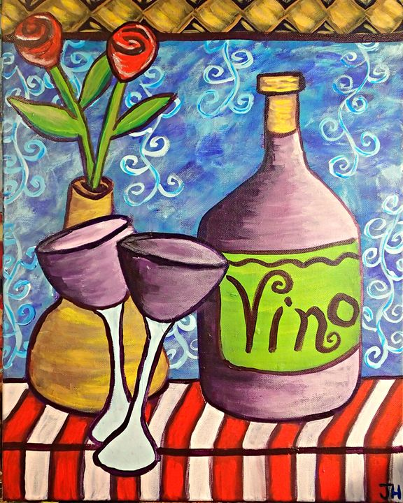 """Vino for Two""/""Wine for Two"" - BrilliantColorsbyJen"