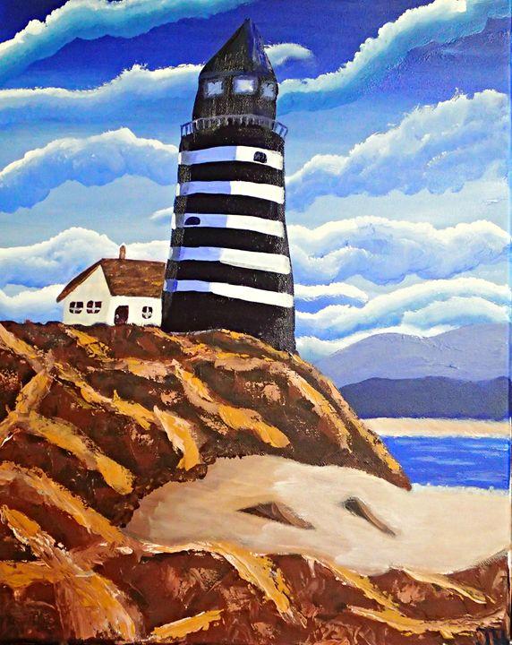 Light House on a Cliff - BrilliantColorsbyJen