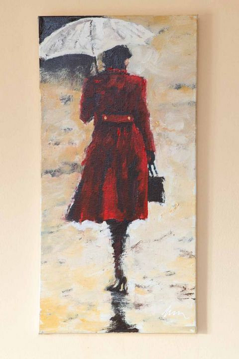 Woman in a red coat oil painting - Filip Petrović