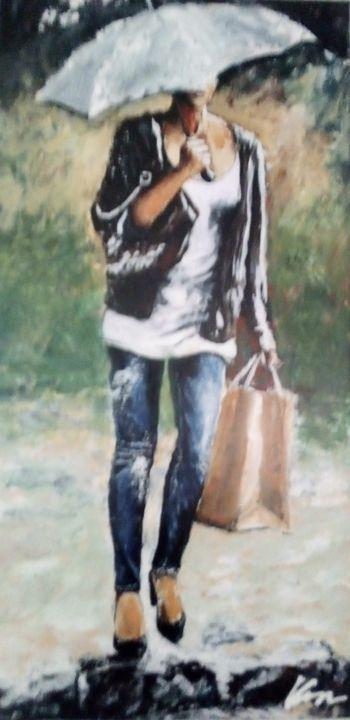 Woman walking home oil painting - Filip Petrović