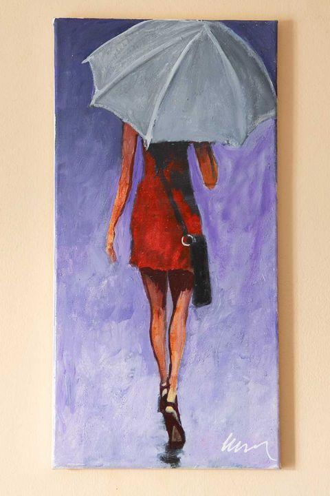 Woman in red dress oil painting - Filip Petrović