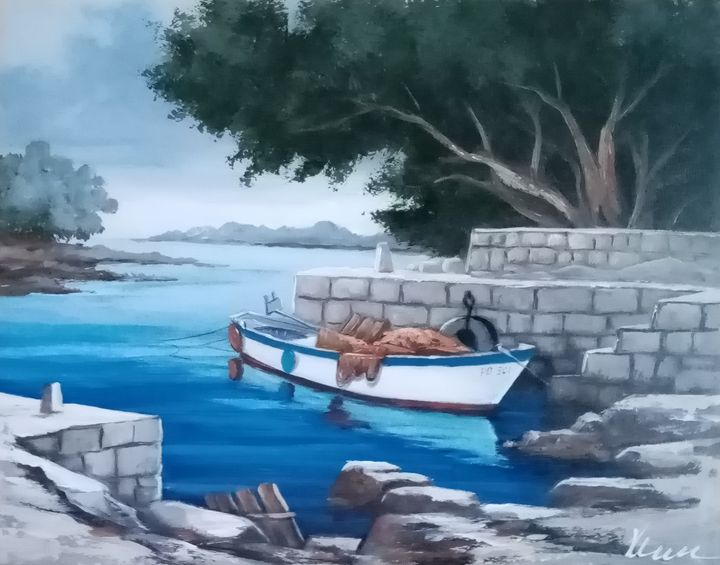Small boat oil painting on canvas - Filip Petrović