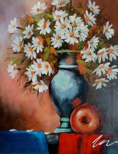 Flowers in a vase acrylic painting