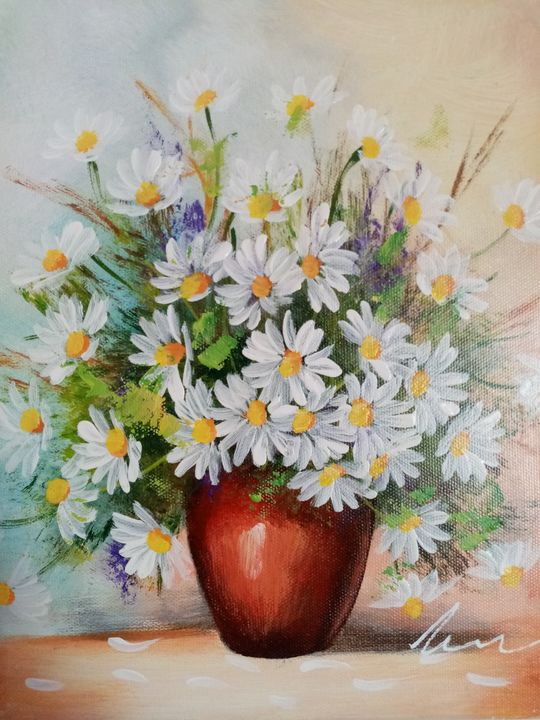Daisies in a vase acrylic painting - Filip Petrović