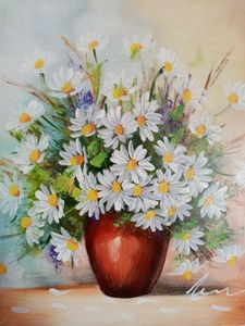 Daisies in a vase acrylic painting