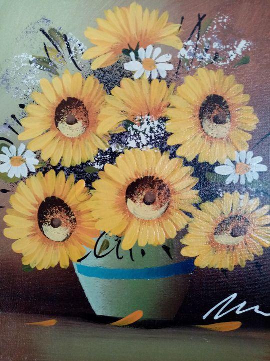 Sunflowers acrylic painting - Filip Petrović