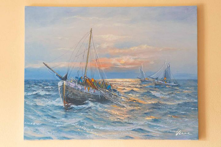 Fishing boats oil painting on canvas - Filip Petrović