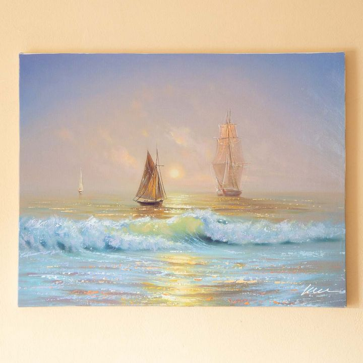 Boats sailing out oil painting - Filip Petrović