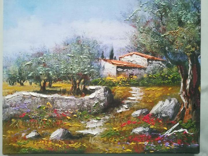 Village acrylic painting on canvas - Filip Petrović