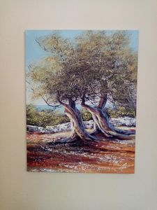 Olive trees acrylic canvas painting