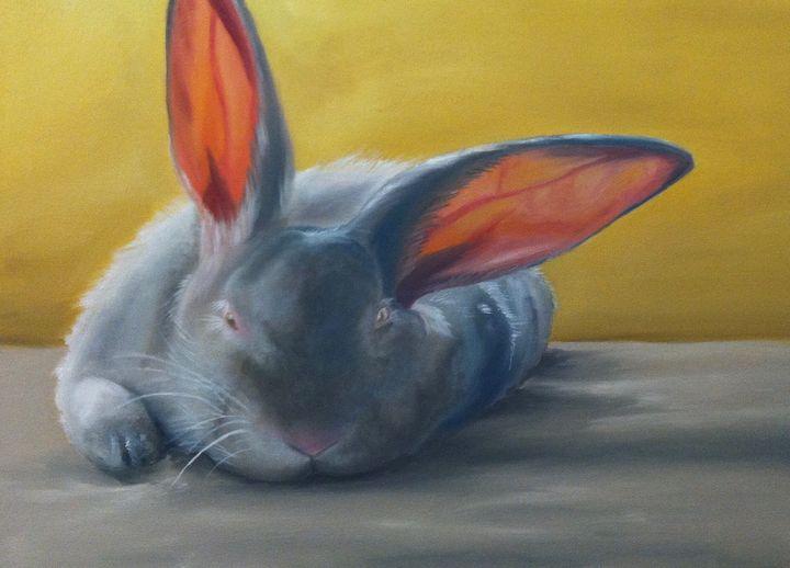 Rabbit Oil Painting - Bayza Gabriel