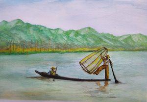 Leg Rowing Fisherman in Inle lake