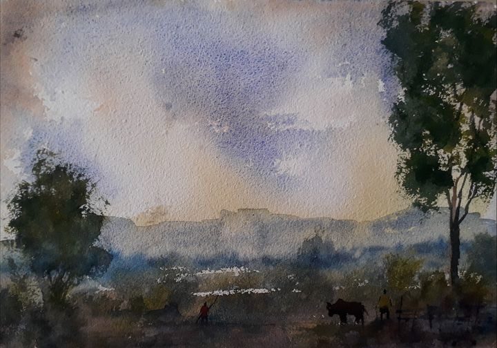 Landscape of Indian village - Satyam Artworks