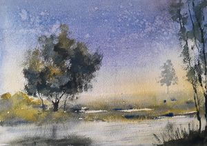 Watercolor of Indian riverside