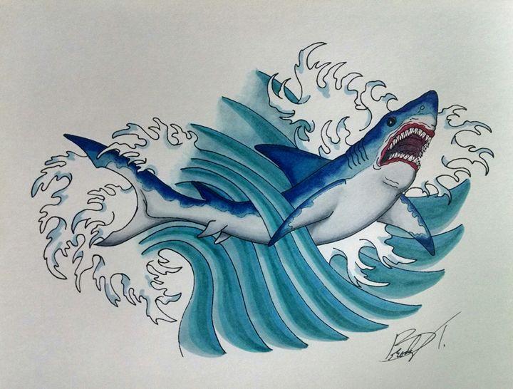 Shark in Wave - Big Bro's Custom Designs