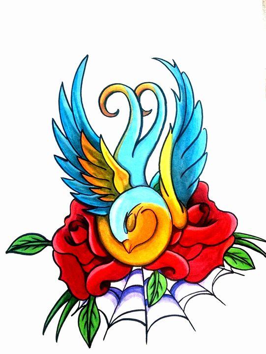 Swallow in Roses - Big Bro's Custom Designs