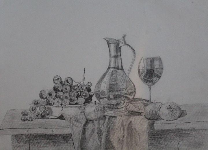 The wine life - The sketch - Fatima's Artwork